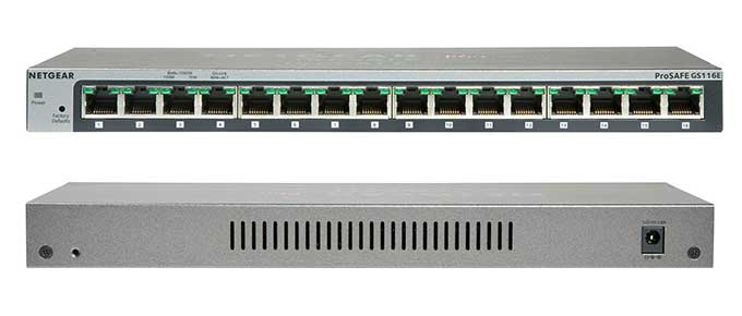 NETGEAR ProSAFE GS116E 16-Port Gigabit Desktop Web Managed (Plus) Switch